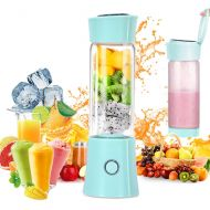 Henzin Portable Blender,USB Rechargeable Personal Smoothie Blender Mini Juicer Cup 480ML Fruit Juice Mixer Small Travel Blender for Shakes and Smoothies with Stainless Steel 6-Blades, FDA