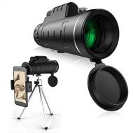 HomeXin HX110 Monocular Telescope, 40x60 High Power Monocular Scope with Smartphone and Retractable Tripod, Black