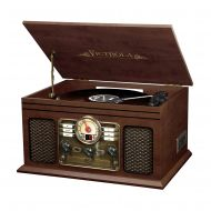 Innovative Technology Victrola Nostalgic Classic Wood Record Player 6-IN-1 with Bluetooth and CD Player (VTA200B)