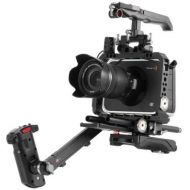 JTZ DP30 Camera Cage with 15mm Rail Rod Baseplate Rig and Top Handle + Electronic Handle Grip + Shoulder Pad Extension Arm Bracket Support for Blackmagic Cinema Camera BMCC Camera