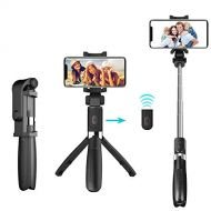 Kingkok Selfie Stick, Portable Tripod Bluetooth 3 in 1 Extendable Selfie Stick with Wireless Remote Compatible with All Smartphones