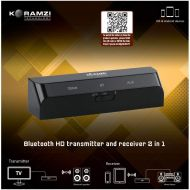 Koramzi Bluetooth Transmitter and Receiver Mini-LOW LATENCY A2DP Optical Toslink InOut for Hi-Fi sound quality, AUX InOut