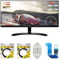 LG 34 IPS WFHD Ultrawide Freesync Monitor 2017 Model (34UM60-P) with 2x 6ft High Speed HDMI Cable, Screen Cleaner for LED TVs & Transformer Tap USB w 6-Outlet Wall Adapter and 2 P