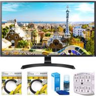 LG 32 3840x2160 Ultra HD 4k LED Monitor (32UD59-B) with 2x 6ft High Speed HDMI Cable Black, Universal Screen Cleaner for LED TVs & SurgePro 6 NT 750 Joule 6-Outlet Surge Adapter wi