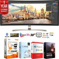 LG 38UC99-W 38 21:9 WQHD+ 3840 x 1600 Curved IPS Monitor + Elite Suite 18 Standard Editing Software Bundle + 1 Year Extended Warranty