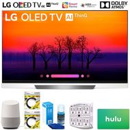 LG OLED65E8PUA 65 Class E8 OLED 4K HDR AI Smart TV 2018 Model (OLED65E8PUA) with Google Home, 2X 6ft HDMI Cable, Screen Cleaner for LED TVs, 6-Outlet Surge Adapter & $100 Hulu Plus