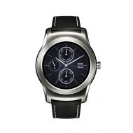 LG W150 Urbane Watch for Android Smartphones w Leather Band Silver Black - Pre-Owned