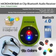 MICROMOB BAR-03 Bluetooth 4.0 Clip Stereo Bluetooth Audio ReceiverAdapter with Mic for EarphoneHeadsetSpeaker. Hands-Free CallsMusic. [Ideal for SmartphoneiPhone 7,8 with no A