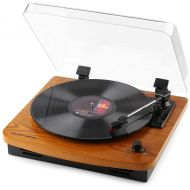 MUSITREND Musitrend LP 3-Speed Turntable with Built-in Stereo Speakers, Vintage Style Record Player Support Vinyl-to-MP3 Recording, RCA Output, Natural Wood