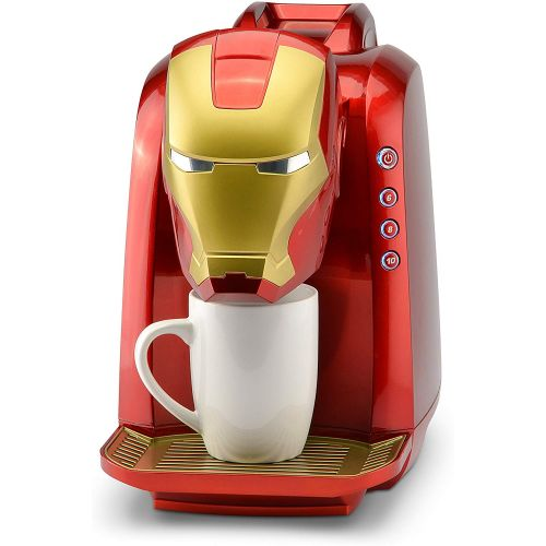 마블시리즈 Marvel MVA-802 Iron Man Single Serve Coffee Maker, RedGold