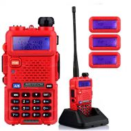 NKTECH UV-5R Plus VHF UHF Tri-Power High/Mid/Low 8W 4W 1W Dual Band 136-174/400-520MHz Two Way Radio Ham Transceiver Walkie Talkie 1800mAh Batteries Warranty Red