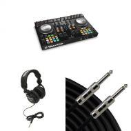 Native Instruments Traktor Kontrol S4 MK2 DJ Controller with Headphones, Speaker Cable, and Connector