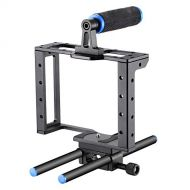 Neewer Camera Video Cage Film Movie Making Kit: (1)Camera Video Cage,(1)Handle Grip,(2)15mm Rod for Canon Nikon Sony and Other DSLR Cameras to Mount Matte Box, Follow Focus(Aluminu