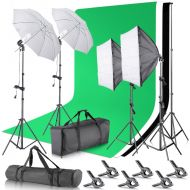 Neewer 8.5 x 10 feet  2.6 x 3 Meters Background Support System with 10 X 20 feet3 X 6 Meters Backdrop 800W 5500K Umbrellas Softbox Continuous Lighting Kit for Photo Studio Video