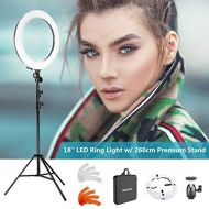 Neewer 18 LED Ring Light Dimmable for Camera Photo Video,Make Up, YouTube, Portrait and Photography Lighting, Includes(1) Ring Light+(1) 9 Feet Heavy Duty Light Stand+(1) Soft & Or