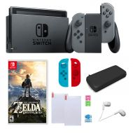 Nintendo Switch in Gray with Zelda Sleeves and Accessories Bundle
