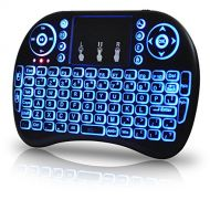 OEM Computer Keyboards Universal 2.4Ghz USB Wireless Keyboard Mouse for Linux Chrome Mac Windows 10 Computer or Android TV Box - Rechargeable Battery - Backlit, Blue