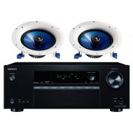 Onkyo 5.2 Channel Full 4K Bluetooth AV Home Theater Receiver + Yamaha Natural High-Performance Moisture Resistant 2-Way 110 watts Surround Sound in-ceiling Speaker System (Pair)
