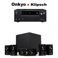 Onkyo TX-NR585 Receiver + Klipsch HDT-600 Home Theater System Bundle