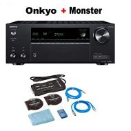 Onkyo TX-NR585 7.2 Channel Network AV Receiver Black + Monster Home Theater Accessory Bundle