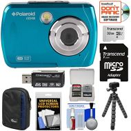 Polaroid iS048 Waterproof Digital Camera (Teal) with 32GB Card + Case + Tripod + Cleaning Kit