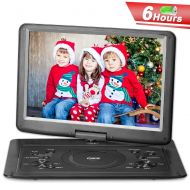 QKK Upgraded Version 15.4 Inch DVD Player with 6 Hours Build-in Rechargeable Battery, Portable Player with 270°Swivel Screen, 5.9 ft Car Adapter, Supports Region Free, USB Port and