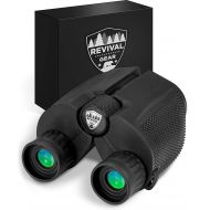 Revival Gear Powerful Compact Binoculars: Tactical & Durable Set That Everyone Finds Easy To Use. Includes Neck Strap & Travel Case. Used When Hiking, Bird Watching, Pro Sports Games, Concerts,