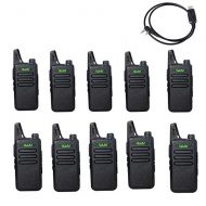Radtel WLN KD-C1 Mini Long Range USB Rechargeable Two Way Radio Walkie Talkie for Kids (Pack of 10) + 1pcs Programming Cable for win10