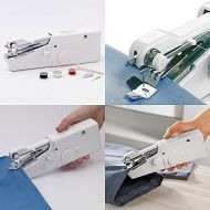 SINGER yan_White Hand Held Sewing Machine Portable Stitch Sew Quick Handy Cordless Repairs