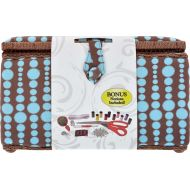SINGER 07264 12 by 9 by 7.25-Inch Blue Dots Sewing Basket, X-Large