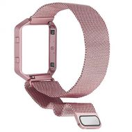 SKYLET for Fitbit Blaze Bands, Stainless Steel Milanese Loop with Metal Frame for Fitbit Blaze Bracelet (No Tracker)