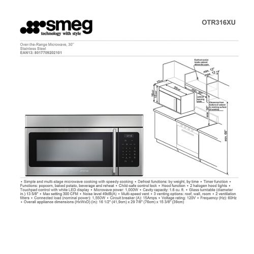 스메그 SMEG Smeg 30-Inch 1.6 Cubic Feet Over-the-Range Microwave in Stainless Steel