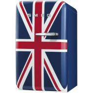 Smeg FAB5ULUJ 16 50s Retro Style Series Compact Refrigerator with 1.5 cu. ft. Capacity Absorption Cooling Automatic Defrost and LED Interior Lighting in Union Jack Color with Left