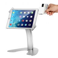 SMONET Desktop Anti-Theft Kiosk & Pos iPad Stand Holder Enclosure with Lock and Key for Tablets iPad, iPad Air, iPad Mini, 9.7 inch iPad Pro, Samsung Tablets (Silver)