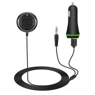 SUSU Bluetooth Car Kit for Hands-Free Talking & Music Streaming, Wireless Audio Receiver with Dual Port USB Car Charger and 3.5mm AUX Input Port