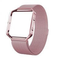 SWEES Metal Bands Compatible Fitbit Blaze Smart Watch, Stainless Steel Magnetic Milanese Replacement Band with Frame Small & Large for Women Men, Champagne Gold, Black, Silver, Col