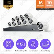 Hanwha Techwin America Samsung Wisenet SDH-C85100BF 16 Channel 4MP Super HD DVR Video Security System with 2TB Hard Drive and 10 4MP Weather Resistant Bullet Cameras (SDC-89440BF)