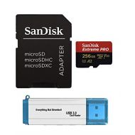 SanDisk 256GB Micro SDXC Extreme Pro Memory Card Bundle Works with GoPro Hero 7 Black, Silver, Hero7 White UHS-1 U3 A2 Plus (1) Everything But Stromboli (TM) 3.0 Micro/SD Card Read