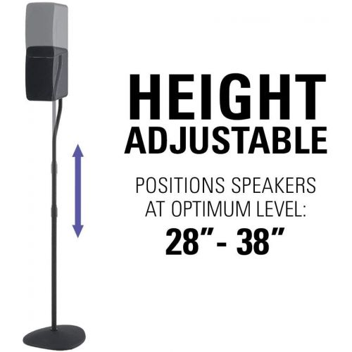 삼성 Sanus Adjustable Height Speaker Stand - Extends 28 to 38 - Holds Satellite & small Bookshelf Speakers (i.e. Bose, Harmon Kardon, Polk, JBL, KEF, Klipsch, Sony and others) - Set of