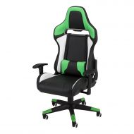 Commander - Racing-Style Gaming Chair by SkyLab Performance Seating F.C, GreenWhiteBlack