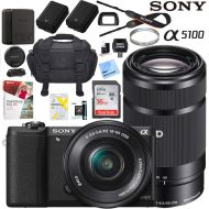 Sony a5100 Alpha Mirrorless Digital Camera with 16-50mm & 55-210mm Lens (Black) ILCE-5100L/B Extra Battery Case + Sandisk Ultra SDHC 16GB UHS Class 10 Memory Card Bundle