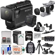 Sony Action Cam HDR-AS50R Wi-Fi HD Video Camera Camcorder & Remote + Finger Grip + Action Mounts + 64GB Card + BatteryCharger + Backpack + Tripod Kit