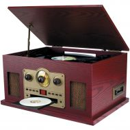 Sylvania SYLVANIA SRCD838 Nostalgia 5-in-1 TurntableCDRadioCassette Player with Auxiliary Input