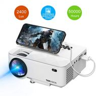 Mini Projector, TOPVISION 2400Lux Projector with Synchronize Smart Phone Screen, Supported 1080P, 176 Display, 50,000 Hours Led, Compatible with Fire TV Stick/HDMI/VGA/USB/TV/Box/L