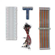 UCTRONICS GPIO Breakout Kit for Raspberry Pi - Assembled Pi T- Type Breakout + 830 Tie Points Solderless Breadboard + 40 Pin Male - Female - Male Rainbow Ribbon Cable + 65pcs Jump