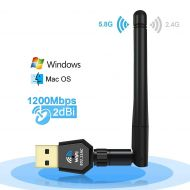 U-Tote USB WiFi Adapter,AC 600Mbps Wireless NetworkCard, Dual Band (2.4G/150Mbps+5G/433Mbps) WiFi Dongle Driver Free with 5dBi Antenna for Desktop Laptop PC,Support Windows 10/8.1/8/7/XP/