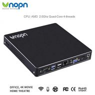 VNOPN Mini PC Small Computers Fanless Industrial Office Desktop Computer with Aluminum Case, AMD Quad Core 2.0 GHz Processor, 150Mbps WiFi 1000Mbps LAN, Support Linux Windows 7/8/10