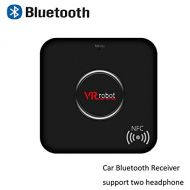 VR-robot Bluetooth Receiver, V4.1 Adapter (NFC-Enabled), Audio Dual Aux 3.5mm Output and Handsfree Function,Wireless Stereo System for CarHome, PC,Mobile Phones(Black)