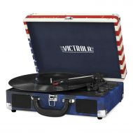 Portable Victrola Suitcase Record Player with Bluetooth and 3 Speed Turntable, Marsala