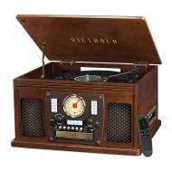 Innovative Technology Victrola Wooden 8-in-1 Nostalgic Record Player with Bluetooth and USB Encoding